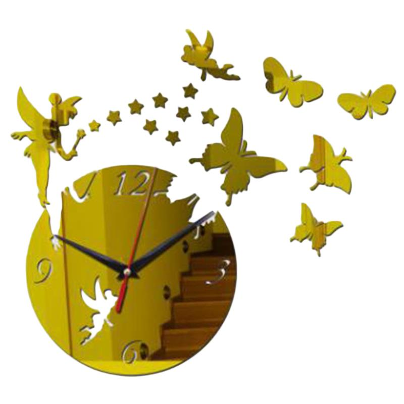 Wall Clock Sticker Frameless Fashion Mirror Surface Sticker DIY Wall Clock For Home