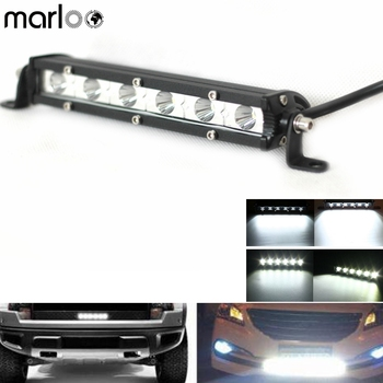 Marloo 18W Super Bright Ultra slim Off-Road White Spot 7 Inch Led Single Row Light Bar For ATV, SUV, Truck, Motorcycle, Cars image