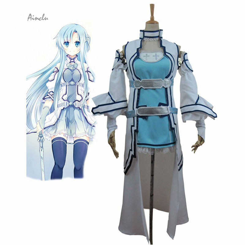 Ainclu Free Shipping Costume Sword Art Online ALO Alfheim Online Yuki Asuna Cosplay Costume For Kids Costume and Adult Costume