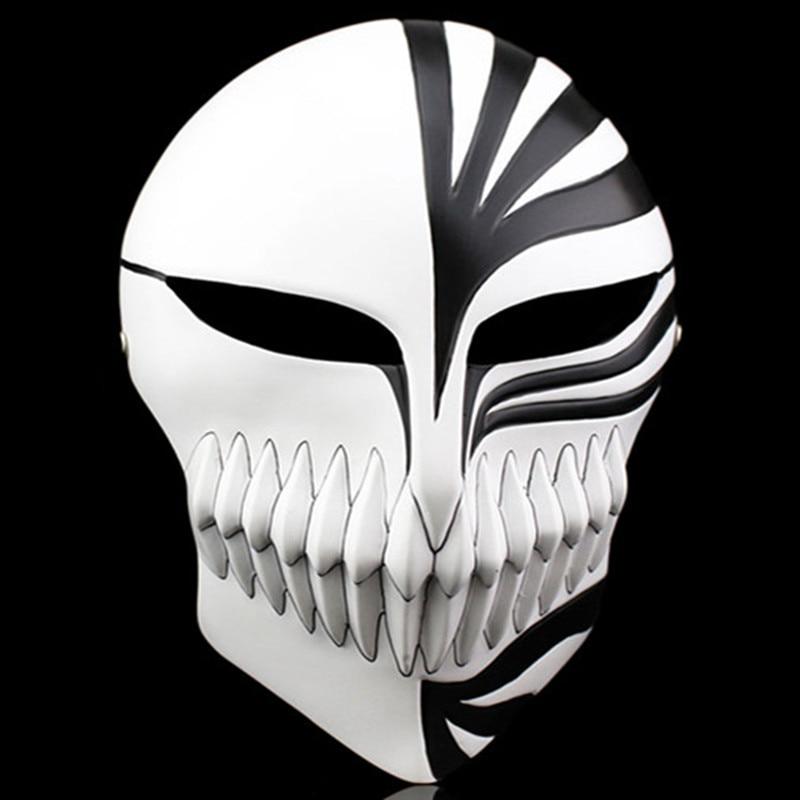 Free Shipping Red Black Full Face Resin Bleach Mask Halloween Masquerade Cosplay Costumes Japanese Anime Death Ichigo Kurosaki