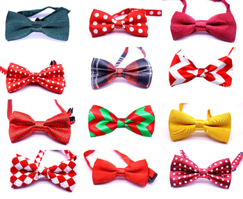 New arrived 100pcs Double-layer bowtie Handmade Christmas Dogs Festival Bow Ties Dog Tie Pet Jewelry Accessories Wholesale