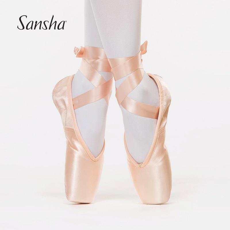 Sansha Women Girls Ballet Pointe Shoes Soft split sole Whisper calm toe Professional Dance Shoes With