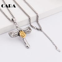 CARA Wing Cross Necklace Women Biker Jewelry Gifts Crystal Adjustable Antique Silver Color Wholesale Dropshipping CAGF0214