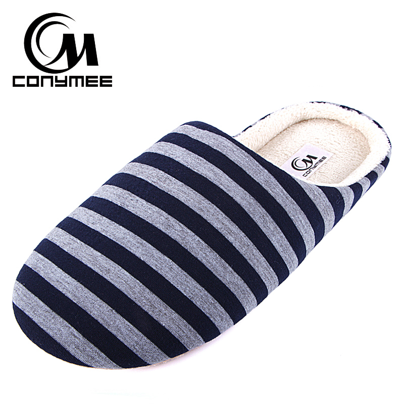 New Men Casual Home Shoes Winter Indoor Slippers Soft Plush Cotton Shoes Footwear Striped Male Warm Bedroom Slippers House Shoes