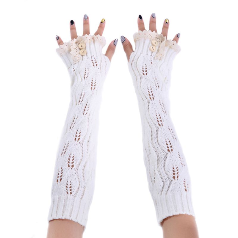 Fashion Mitten Mesh Arm Sleeve Twist Soft Hot Lady Warm Winter Fashion Gloves Long Knitted Gloves With Lace Buttons