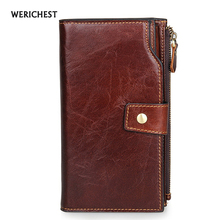 Neue Europa Marke Brieftasche Langen Kreativen Unisex Kartenhalter Lässig Reißverschluss Damen Kupplung Echtem Leder Cluch Geldbörse Carteiras