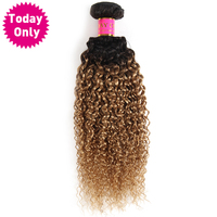 Today Only Ombre Brazilian Hair Kinky Curly Weave Human Hair Bundles Non Remy Blonde 1b 27
