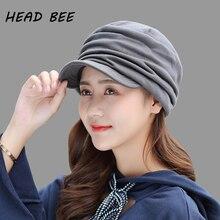 [HEAD BEE] Brand Winter Cap Cotton Ladies Knitted Hat 2018 Thicken Beanies Women Velvet Solid Bonnet