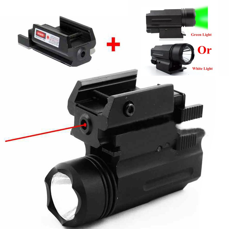 2 In 1 Tactical Red Dot Laser Sight + LED Hunting Red Laser 20mm Rail Weapon Light For Glock Gun Hunting Optical Equipment