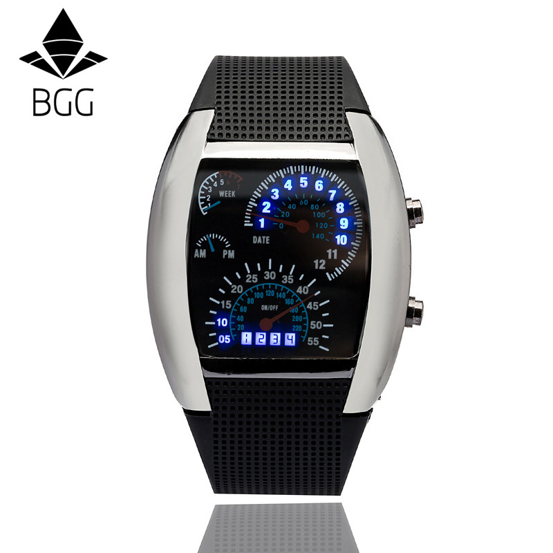 BGG Top New Arrival LED Watch Dash Board Dial Men Women Watch Student Fashion Creative Business