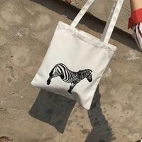 LYDZTION פופולרי בעלי החיים ילדי שקיות ספר בד עבור בנות נשים הדפסת סוס הזברה שקיות שקיות כתף רטרו תיק בסגנון טרי