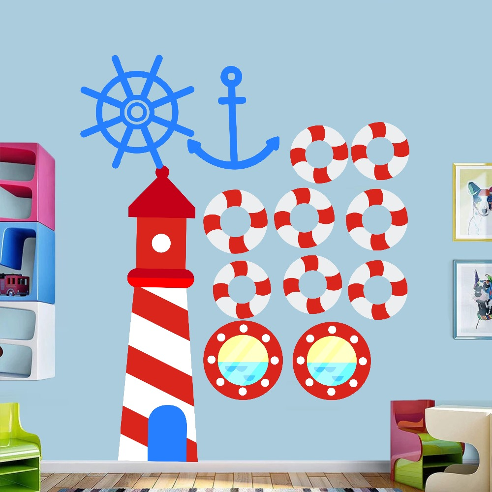 Anchor Lighthouse Octopus Submarine DIY Wall Art Decal For Kid Nursery Bedroom Home Decor Vinyl Wall Sticker Removable Wallpaper (1)