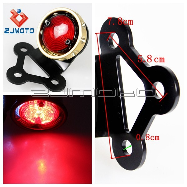Messing Rote LED Rücklicht Motorrad Rot LED Fahrrad Licht 12 V rote ...