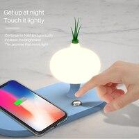 Drahtlose Ladegerät mit LED Nacht Licht für xiaomi Samsung s 10 iphone x 8 7 Tragbare Schnelle Ladegerät Button Control lampe
