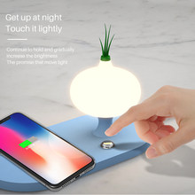 Wireless Charger with LED Night Light for xiaomi Samsung s 10 iphone x 8 7 Portable Fast Charger Button Control Lamp(China)