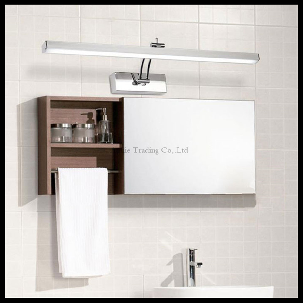 L40 50 60 70cm modern stainless steel led cabinet mirror light 7 8 10 12w bathroom shower vanity for Stainless steel bathroom lights