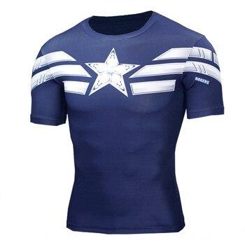 2017 Высокое качество Мужская 3D футболка Капитан Америка печати фитнес компрессионные рубашки Косплей быстросохнущие Кроссфит футболки муж... >> JACKET CORDEE Store