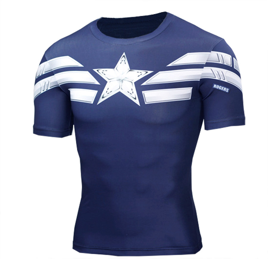 2017 High Quality 3D T Shirt Men Captain America Print Fitness Compression Shirts Cosplay Quick-Drying Workout T-Shirt MenTops