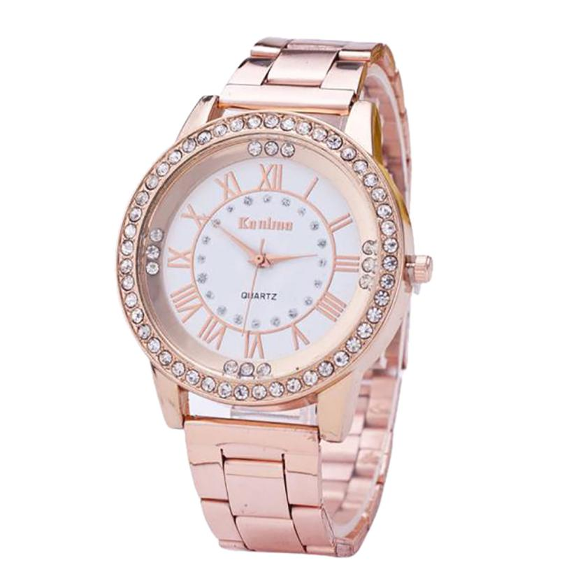Yueshang Luxury Brand Neutral Quartz Watches Men & Women Diamond Gold Watch Stainless Steel Analog Fashion Watch For Gift Clock