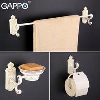 Gappo 9PC Set Bathroom Accessories Towel Bar Paper Holder Toothbrush Holder Glass Shelf Toilet Brush Holder