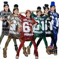 Free Shipping Summer Cheap Fashion Hip Hop Bling Sequin T shirt Long Women Printed Sequined T Shirt For Dance