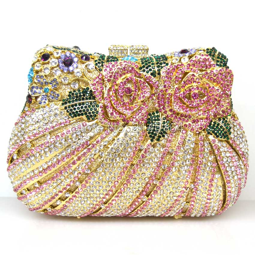 hot selling high quality diamond crystal diamond pink clutch evening bag bride banquet hollow banquet bag luxury party queen Q26 high quality tr1000 tr2020 900168 26 selling with good quality