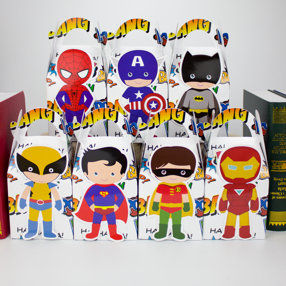 Superhero Avengers Gift Box Batman Candy Box Gift Box Favor Box 7PCS/lot Birthday Party Decorations Kids Event & Party Supplies