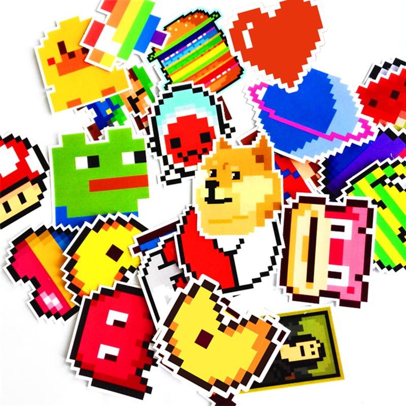 25 Stks dieren minnaar Stickers Gemengde Grappige Cartoon Mozaïek Pixels Decals Bagage Laptop Auto Styling Skateboad DIY Sticker