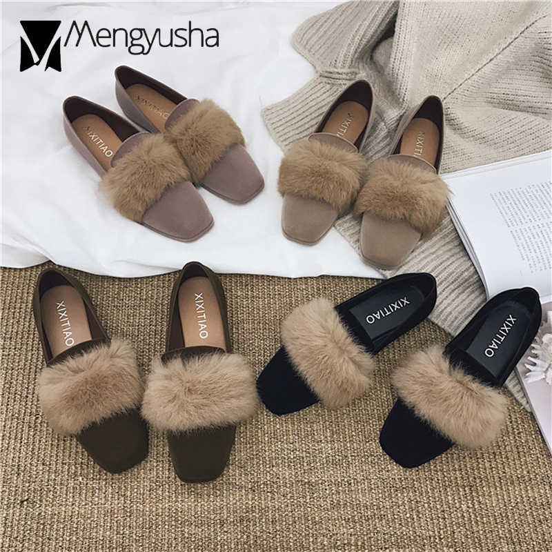 02c9cc3ad68 Winter Fur Flats Women Feather Moccasins Real Rabbit Hair Shoes Woman  Espadrilles Velvet Creepers Square Toe