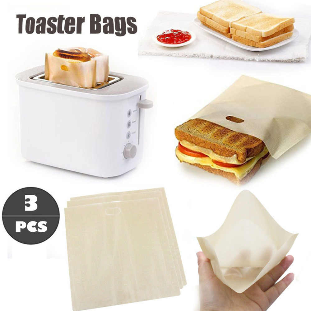3pcs Toaster Bags for Grilled Cheese Sandwiches Made Easy Reusable Non-stick Baked Toast Bread Bags