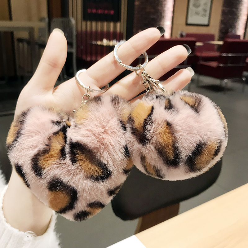 Faux Rabbit Fur Ball Key Chain Pompom Leopard Plush Heart Keychain Pom Pom Round Ball Trinket Car Bag Key Ring Gift Chaveiro
