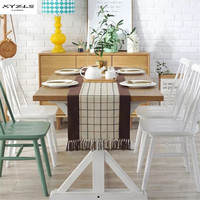 XYZLS Cotton Linen Table Runner American Style Plaid Tablecloth With Tassels Dining Table Flag For Wedding Party Decoration 1PC