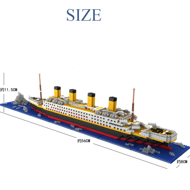 New DIY Plastic Titanic Ship Small Building Blocks Kids Model Toys Gifts