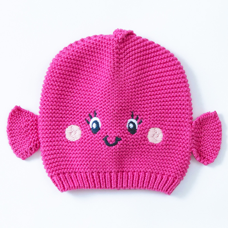 2016 Rose Girl Fish Hat Cotton Embroidery Crochet Kids Beanies Kids Fall Winter Children Cap Handmade Knit Windproof Earmuff Cap Famous For High Quality Raw Materials, Full Range Of Specifications And Sizes, And Great Variety Of Designs And Colors