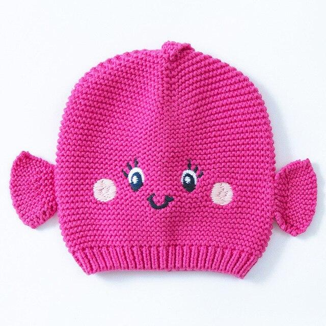 2016 Rose Girl Fish Hat Cotton Embroidery Crochet Kids Beanies Kids