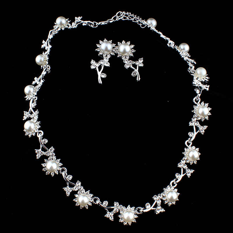 jiayijiadu Classic imitation pearl silver color necklace earrings wedding jewelry set for fashion girl bridesmaid dress accessor