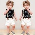 2016 Fashion 3 pieces Summer Boys Clothing Sets Children Bib Pants Gentleman Set Cotton Shirt + Short Pant Kids Boy Clothes