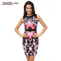 Kaige. Nina Vêtements de Nouvelles Femmes De Mode Imprimé Sans Manches Grande Taille Col Rond Serré Mini Robe En Été 9017