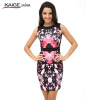 Kaige. Nina Yeni Moda kadın Giysileri Baskılı Kolsuz Uzun Boylu Bel Yuvarlak Yaka Sıkı Mini Elbise Yaz 9017 Yılında