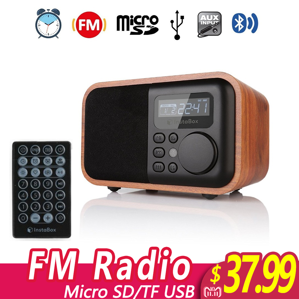 InstaBox i90 FM Radio Wooden Digital Multi-Functional Speaker Bluetooth Alarm Clock MP3 Player Supports Micro SD/TF Card USB AUX tivdio v 116 fm mw sw dsp shortwave transistor radio receiver multiband mp3 player sleep timer alarm clock f9206a