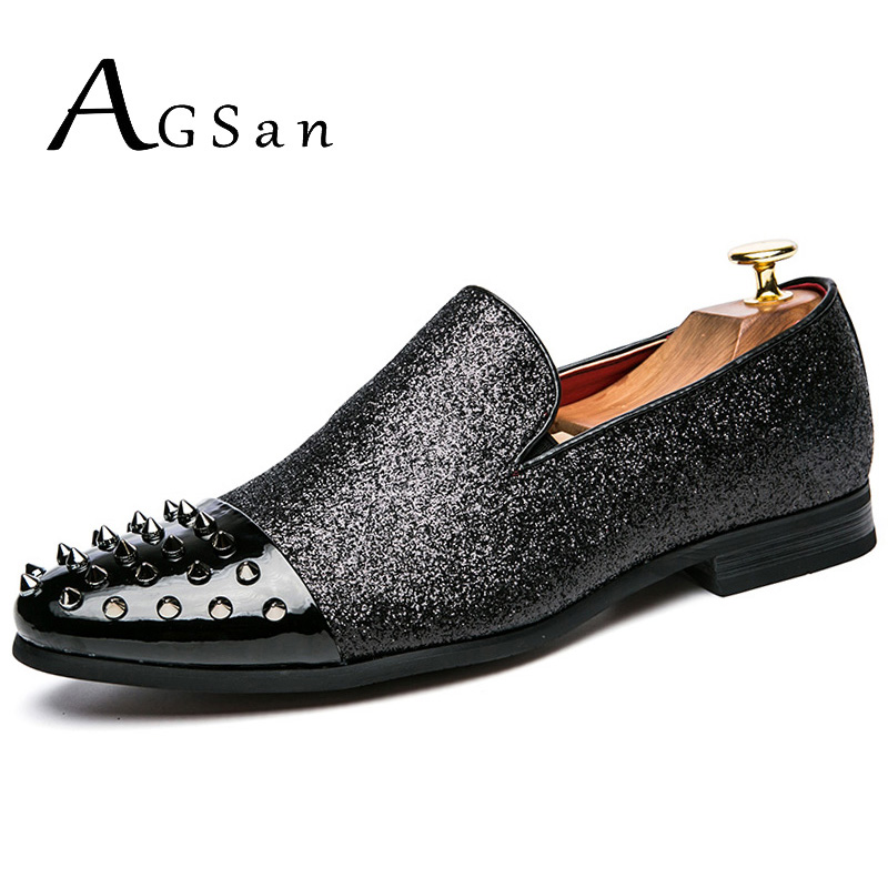 AGSan Handmade Rivet Spiked Men Shoes Red Bottom Male Loafers Glitter Gentleman Luxury Brand Men Wedding and Party Slip on Flats black and bule suede red bottom luxury mens loafers new france brand slip on spikes shoes