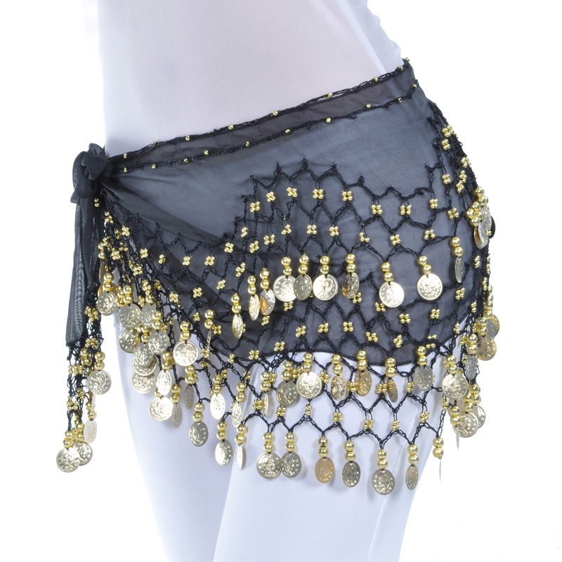 Lady Women Belly Dance Hip Scarf Accessories 3 Row Belt Skirt With Gold Bellydance Tone Coins Waist Chain Wrap Adult Dance Wear(China)