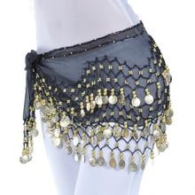 Lady Women Belly Dance Hip Scarf Accessories 3 Row Belt Skirt With Gold bellydance Tone Coins Waist Chain Wrap Adult Dance Wear