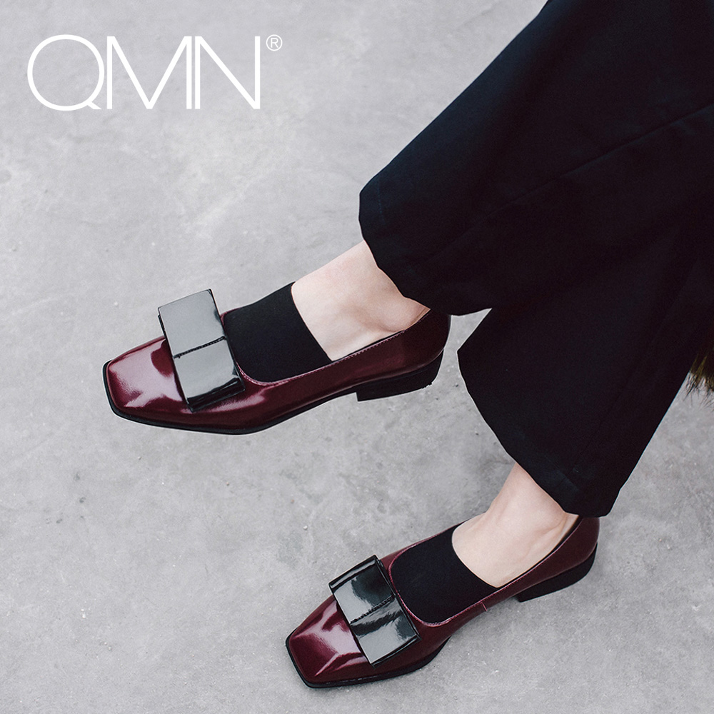 QMN women genuine leather flats Women Retro Bow Embellished Glossed Leather Square Toe Loafers Slip On Casual Shoes Woman Flats  qmn women genuine leather flats women horsehair loafers retro square toe slip on flat platform shoes woman creepers 34 42