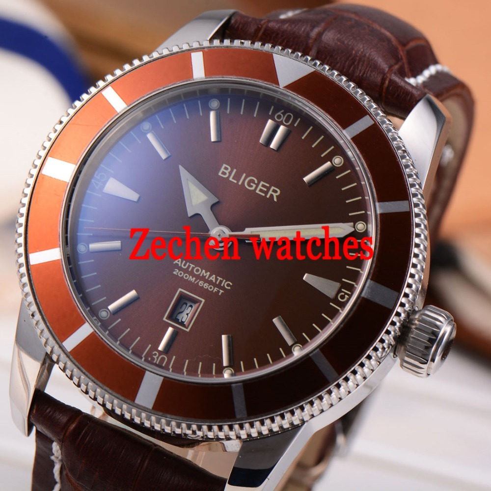 BLIGER 46mm Stainless Steel Case Luminous coffee dial Watch Automatic Mens Wristwatch цена и фото