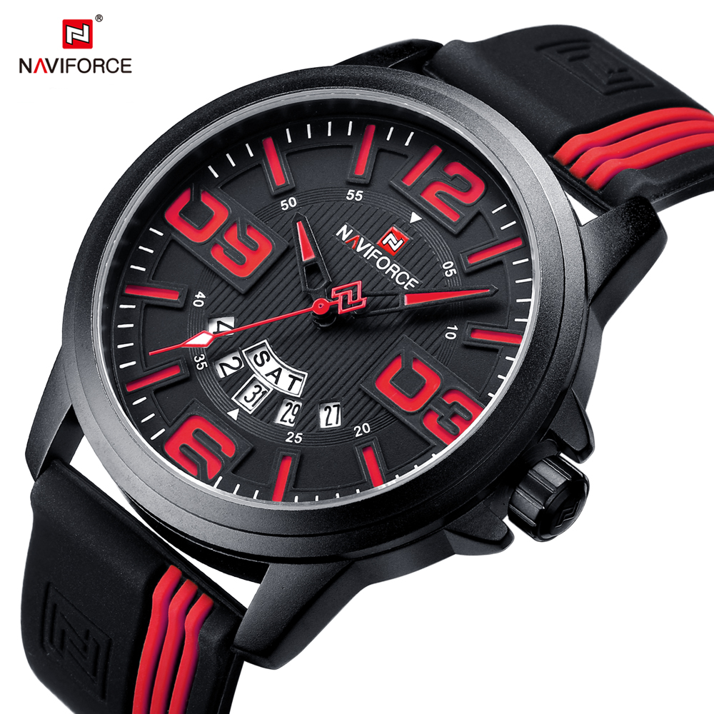 NAVIFORCE Mens Sport Watches Fashion Casual Young Men Wristwatch Date Display Silicone Strap Watch Waterproof Male Clock Relogio goblin shark sport watch 3d logo dual movement waterproof full black analog silicone strap fashion men casual wristwatch sh165