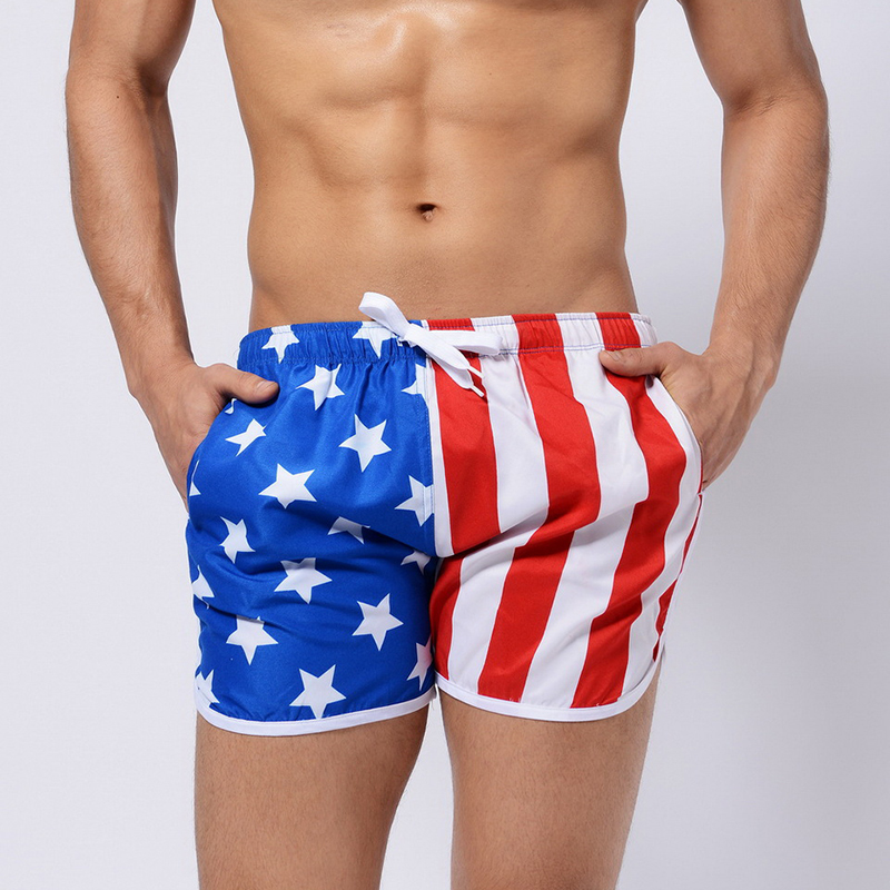 Summer Men Sexy Board Beach Shorts Swimwear Swimming Trunks Bathing Swimsuit Boxer Swim Suit US Flag Breathable Boardshorts