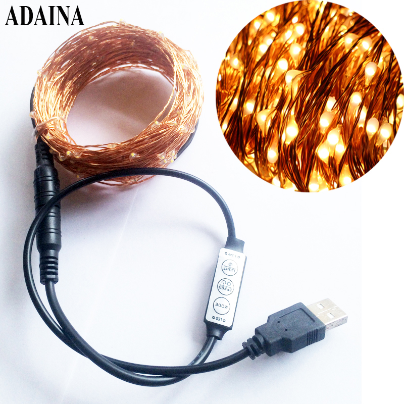 USB Dimmer 33FT 10M 100LED 5V String LEDs Battery Operated White Fairy Lights Copper Wire TV Outdoor Christmas Decorations 10
