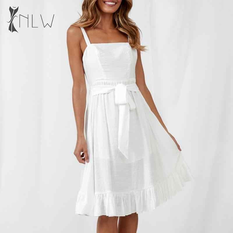 NLW dos nu à lacets robe d'été à bretelles Spaghetti robe mi-longue à volants femmes été blanc plage robe plissée Vestidos