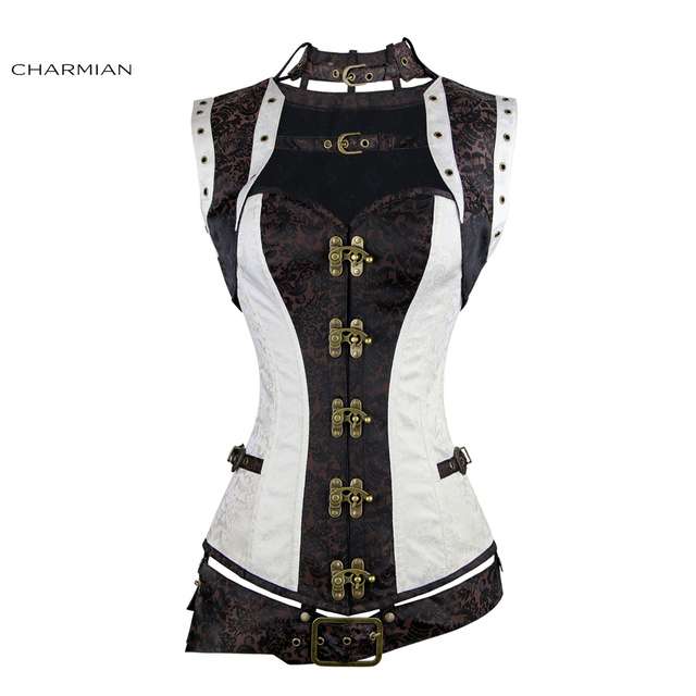 Charmian المرأة حجم كبير Steampunk مشد الأبيض الصلب الجوفاء النهضة خمر مشدات القوطية و المشدات مربوط أعلى